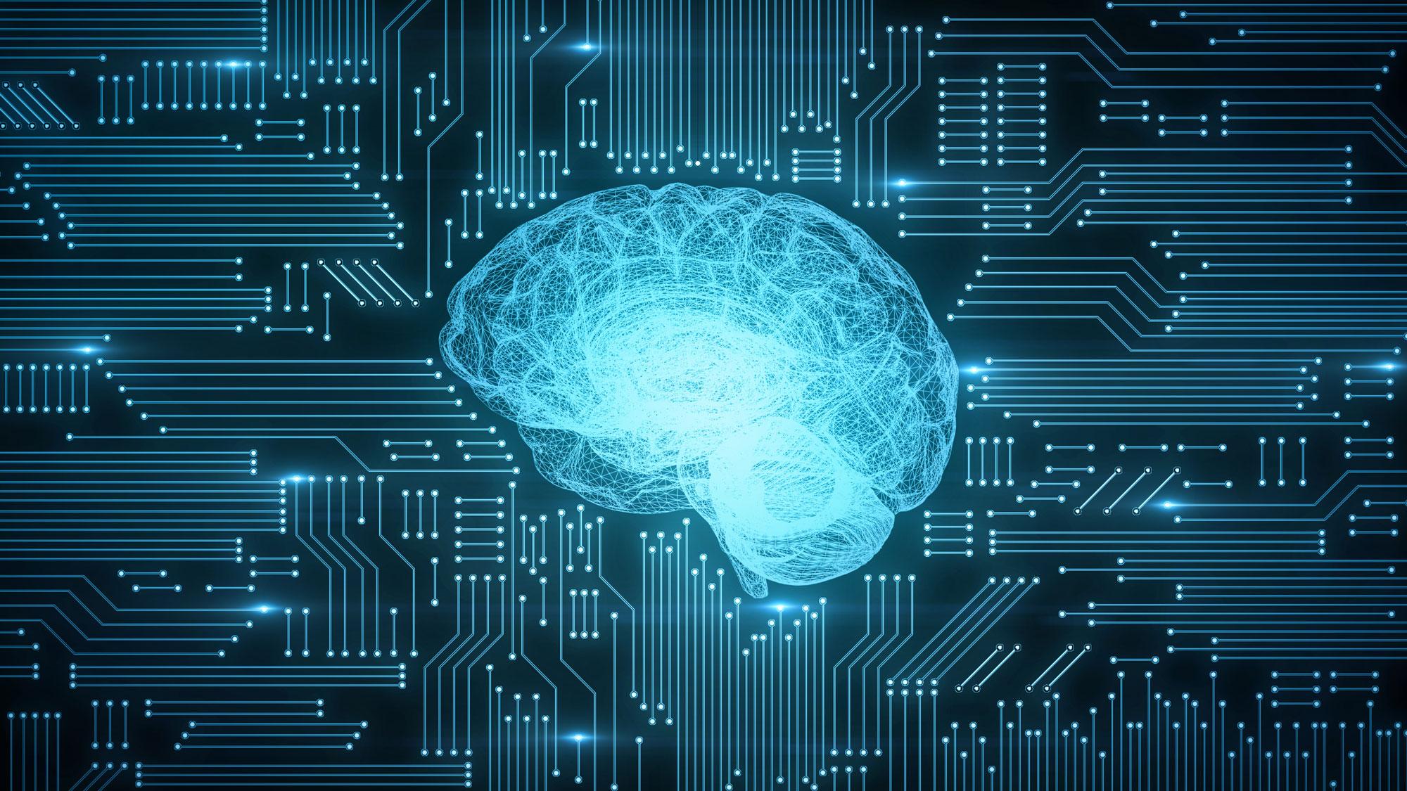 Brain glowing on circuit board.